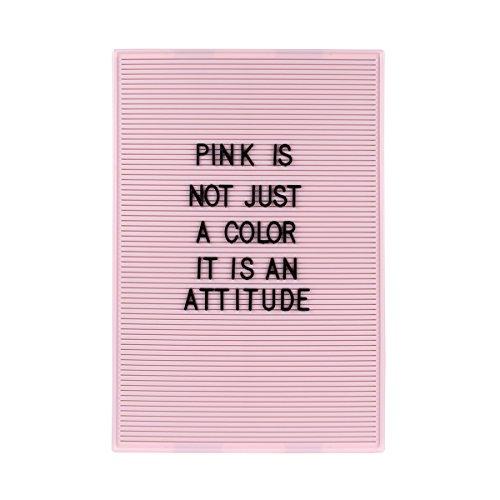 Dresz 310x460mm Trendy Pink Letter-Board mit Montagewinkeln, 267 Schwarze Buchstaben, Nummern & Symbole, Retro Design, Plastik, Rosa, 31 x 46 cm