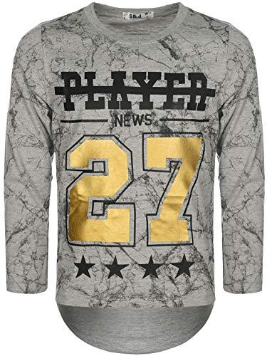 Kinder Jungen Pullover Langarm-Shirt Pulli Sweater Motiv Druck Rundhals 30135 Grau 146 bis 152 -