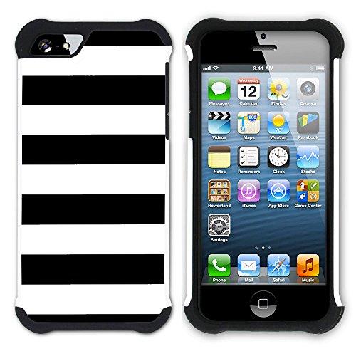 Graphic4You Color Stripes Farbstreifen Muster Design Hart + Weiche Kratzfeste Hülle Case Schale Tasche Schutzhülle für Apple iPhone SE / 5 / 5S (Aqua Blau) Schwarz