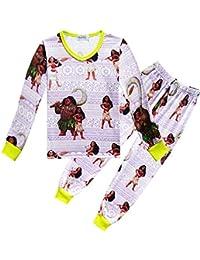 Unisex Moana Childrens Home Service Traje Pijamas con Cuello en v Estampado de Dibujos Animados Pijamas