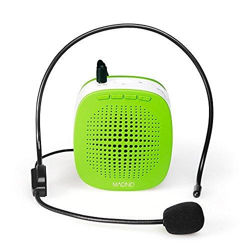 Stimme Verstärker, maono au-c03 Wiederaufladbare Mini PA System (1020 mAh) mit Wired Mikrofon für Lehrer, Präsentationen, Busse, Tour Guides, Markt Förderung (grün) … (Green Voice Amp)