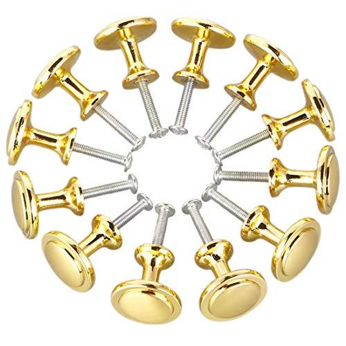 ZCHXD Satin Nickel Kitchen Cabinet Knobs - 1 Inch(25mm) Round Drawer Pull Handles - 12 Pack of Furniture Cupboard Dresser Cabinet Door Hardware Knob - Gold Tone -