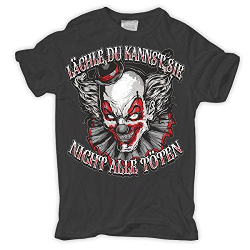Männer und Herren T-Shirt LÄCHLE, du kannst sie nicht alle töten Aschgrau