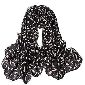 Little Cats Print Scarf,BaojunHT Cute Animal Laddies Shawls Durable Soft Chiffon Wrap