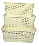 #5: SONICKARTSBasket For Storage Set of 3 With Lid Ivory Color Sizes (Small, Medium & Big) - Ivory