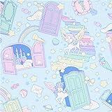 Blaues Wachstuch mit Einhörnern, Sternen und Türen
