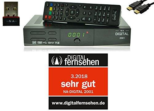 NA-Digital 2001 HD HDTV Satellitenreceiver mit Wifi USB Stick digitaler Satelliten-Receiver YouTube camping Sat Receiver vorprogrammiert 12v Wohnmobil tv receiver HDMI SCART USB 2.0 Full DH 1080p HDTV