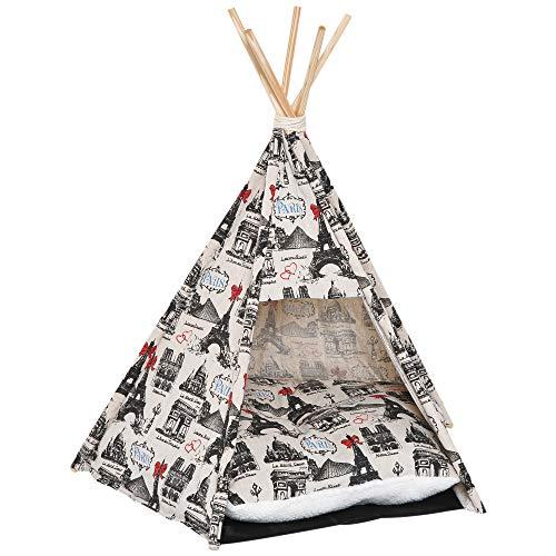 Pawhut tenda cuccia teepee per cani e gatti in tela di cotone robusta pieghevole 67×65×78cm