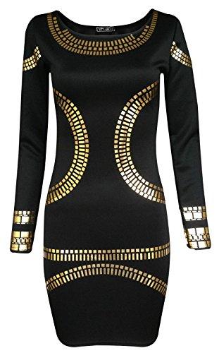 Fast Fashion - Robe Célébrités Inspirées Manches Longues Foil L'or Mini Bodycon - Femmes Noir