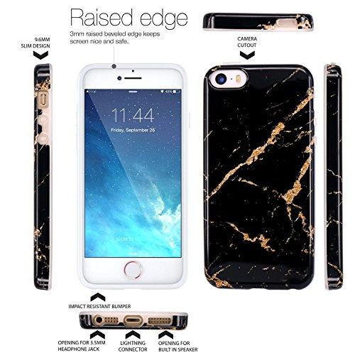 iPhone 5 Hülle, JIAXIUFEN Shiny Rose Gold Gray Marmor Serie Flexible TPU Silikon Schutz Handy Hülle Handytasche HandyHülle Etui Schale Case Cover Tasche Schutzhülle für iPhone 5 5S SE Schwarz Gold