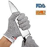 Schnittschutz-Handschuhe, COCOCITY Fingerhandschuhe Hochwertig Arbeithandschuhe Gestrickt Küchenhandschuhe Level 5 Schutz Schnittfest Einsatzhandschuhe für Garten/Baustelle/Küche/Klettern Grau