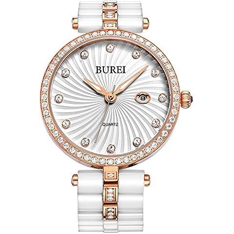 Burei montre femme en céramique blancs montres avec date Calendrier