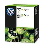 HP 301XL Lot de 2 Cartouches d'Encre Trois Couleurs (Cartouche Cyan, Magenta, Jaune) Grande Capacité Authentiques (D8J46AE)