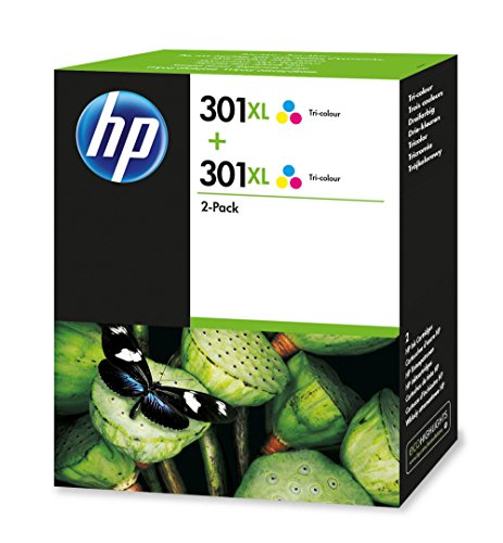 HP 301XL   Pack de ahorro de 2 cartuchos de tinta Original HP 301XL Tricolor HP DeskJet, HP OfficeJet y HP ENVY