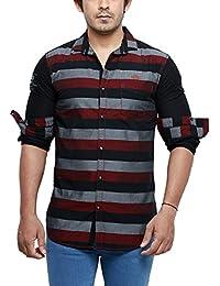 Rapphael Long Sleeve Slim Fit Shirt For Men - Red&Black