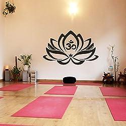 "Vinilo decorativo de pared, diseño de flor de loto con símbolo OM, yoga, mandala, arte adhesivo, vinilo, negro, 21""h x34""w"