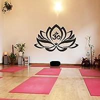 Floral Decor Lotus Flower With Om Sign Yoga Wall Vinyl Mandala Art Sticker(X-Large,Black) by WallsUp