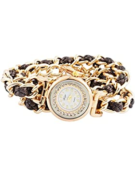 Souarts Damen Armbanduhr Bohemian Stil Armkette Deko Uhr mit Batterie Charm Geschenk Braun