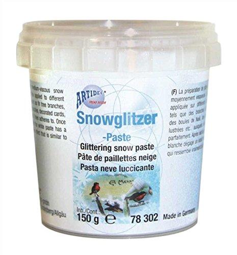 CREARTEC Snowglitzer - Paste - authentische Schneepaste mit echten Silberpartikeln - perfekt für Weihnachtsdekorationen - 150ml - Made in Germany