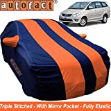 Autofact Car Body Cover for Toyota Innova (2000 to 2016) (Mirror Pocket, Premium Fabric, Triple Stiched, Fully Elastic, Orange/Blue Color)