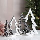1 x Tannenbaum Shaky Keramik weiß glasiert/silber glänzend Höhe 23 cm, Weihnachten, Christmas