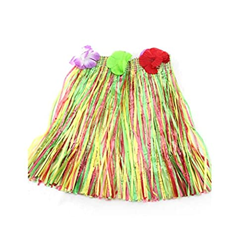 HuaYang Blumen Hula Gras Rock Phantasie Kurz Kleid Armband Kostüm Rock für Kinder Mädchen(Bunt)