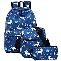 Unicorn School Backpack Set for Girls, Kids School Bags Back to School Teen Rucksack Backpacks Student