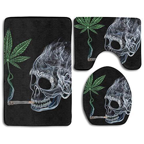 Party Socks Skull Smoking Cannabis Leaf 3 Piece Bathroom Rug Set Non-Slip Bath Mat Contour Rug Toilet Lid Cover Home Decorative Doormat (Smoking Socks)