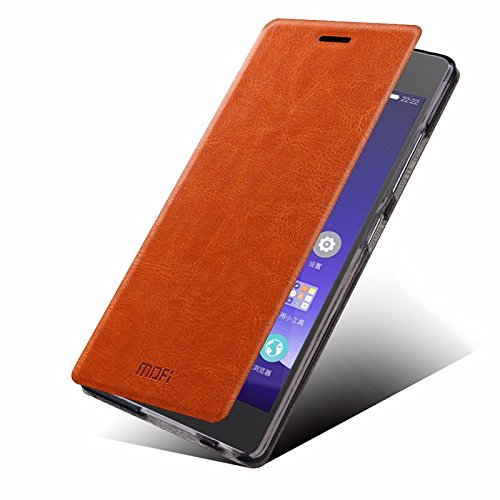 Defender MOFI Premium Vintage British Leather Slim Flip Best Cover Case with Back Stand For Samsung Galaxy Grand Max - BROWN
