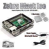 Zebra Case - Raspberry Pi 2 und B+ Gehäuse Black Ice mit Holzeinfassung