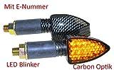 Motorrad Mini Blinker LED Elight carbon getönt E-geprüft passt z.B. bei CPI SM 50 Honda CB 500 600 Italjet Formula Kawasaki KLR KMX 600 650 125 Suzuki DL DR GN GS GSX Yamaha DT XJ XT