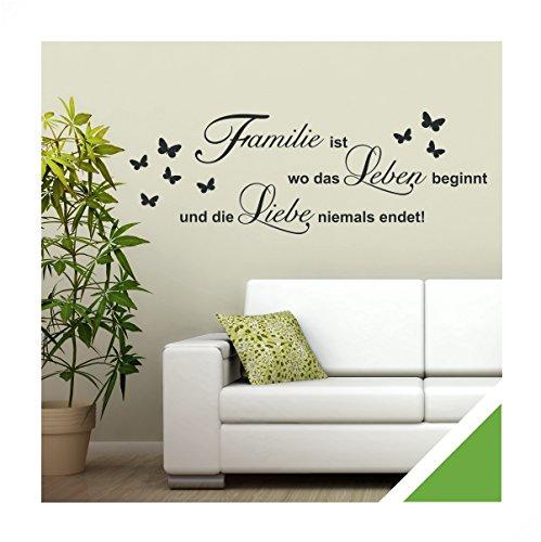 Exklusivpro Wandtattoo Spruch Worte Familie ist Leben Liebe inkl. Rakel (zit46 lindgrün) 150 x 51 cm mit Farb- u. Größenauswahl