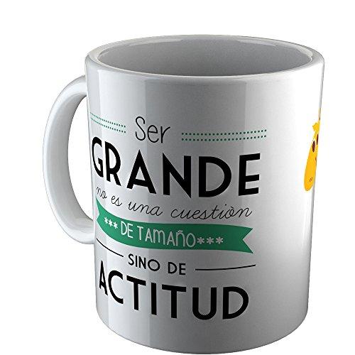 """Pinkmarket QW1508 - Taza cerámica de desayuno y café. Mug Cup de desayuno para leche, agua, zumo de frutas. Diseño """"SER GRANDE NO ES UNA CUESTIÓN DE TAMAÑO"""""""
