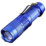 DaskFire sk68 7W 300LM 3 Modi Mini LED Taschenlampe Lampe Einstellbarer Fokus Zoomable Handheld Light-Blue