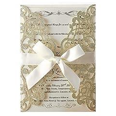 Idea Regalo - Hosmsua 20pcs taglio Laser, Champagne inviti da matrimonio carta con Nastro Pizzo Flora Design per la festa di compleanno di festa di compleanno Quinceanera (20pcs)