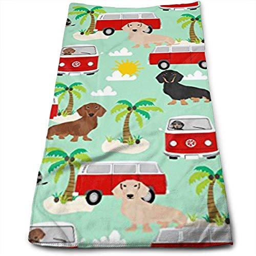 Funny Bag Dackel Summer Hippie Bus Hund Badetücher für Badezimmer Hotel-Spa-Kitchen-Set - Circlet Ägyptische Mikrofaser - sehr saugfähig Hotelqualität Handtücher 30,5 x 69,8 cm - Frontgate-matte