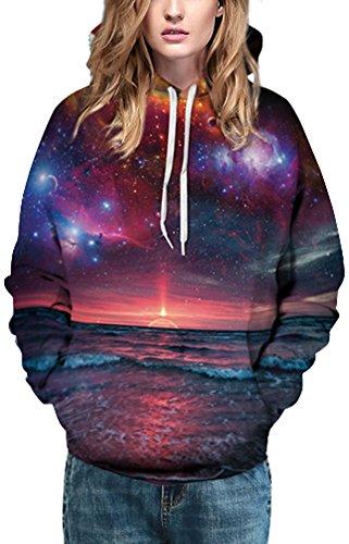 EmilyLe Damen 3D Druck Sweatshirts Weihnachten Pullover mit Cartoon Aufdruck Kapuzenjacke Langarm Top Hoodie Abendsonne