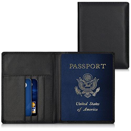 kwmobile Funda con bloqueo RFID para pasaporte y DNI estuche de cuero sintético para tarjetas de crédito - cubierta con tarjetero en negro