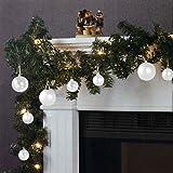 Weihnachtsgirlande Tannengirlande Lichterkette 270cm 180 Spitzen 20 Lampen 16 Kugeln Weiß