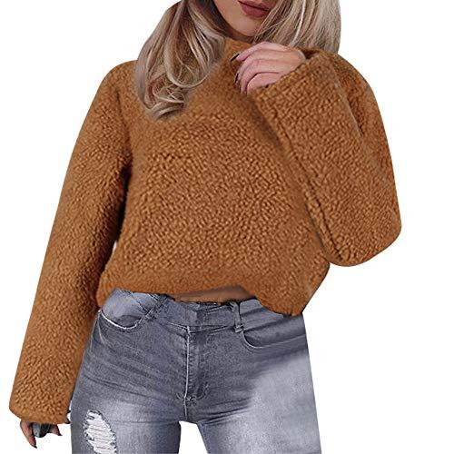 iHENGH Neujahrs Karnevalsaktion Damen Winter Warm Bequem Hohe Kragen Sexy Stilvoll Umbilical Twist Lässig Slim Dicker Strickpullover Pullover