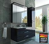 MISPA© Badezimmer Badmöbel-Komplett-Set inklusive Hochschrank, Anthrazit/Hochglanz - 100cm, LED-Beleuchtung, Softclose-Technologie, Waschbecken, Unterschrank, Spiegelschrank, Made in Germany