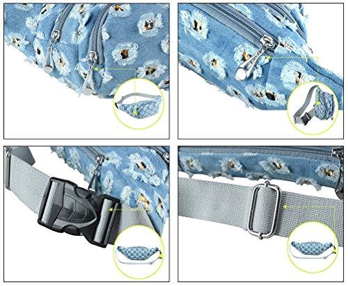 Gürteltasche Bauchtasche Hüfttaschen Schultertasche Waistbag Jeans für Damen Herren Reise Sport Dunkelblau