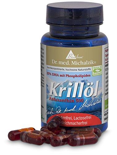 Krillöl nach Dr. med. Michalzik, 60 Kapseln, 100 {5bf99c53a517074eac76a90e51b26a29ffd4a934272e7c133e6f7347959ef09c} reines Krillöl, Euphasia Superba, Omega 3, EPA, DHA, Phospholipid und Astaxanthin 500 mg. Qualität durch besondere Verkapselung, ohne Schweine- oder Rindergelatine - ohne Zusatzstoffe