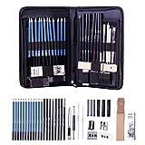 40pezzi matite da disegno, matite di grafite antracite set professionale Art set con bastoncini strumenti e pop-up supporto Custodia da trasporto con cerniera