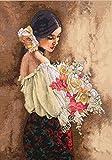 Dimensions Kit Point De Croix Compté, Femme Avec Un Bouquet