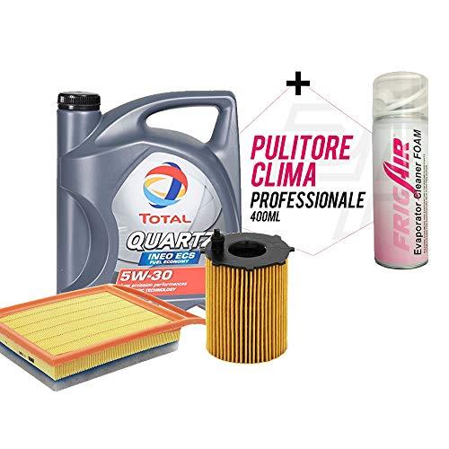 2parts Olio Motore per Auto Total Quartz INEO ECS 5W30 5 Litri, con Filtro Olio, Filtro Aria (529E/207/P) + PULITORE SANIFICATORE IMPIANTO Clim