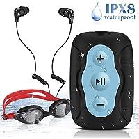 AGPTEK S33B- Reproductor de MP3 Acuatico 8 GB Impermeable IPX8 con Gafas de Natación y Auriculares, Color Azul