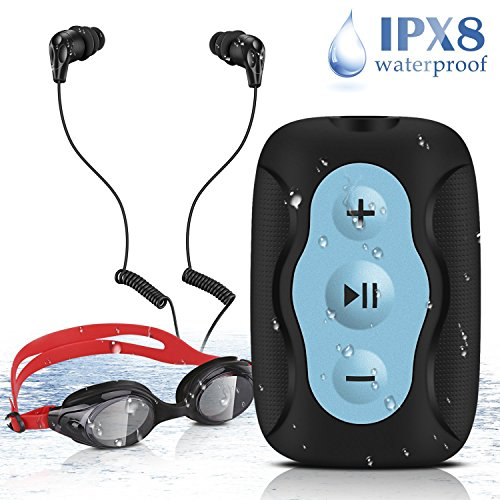 AGPTEK 8GB IPX8 Wasserdichter Clip MP3 Player mit Wasserdichten Stereo Kopfhörern und Schwimmbrille für Schwimmen, Tauchen, Laufen und andere Wassersport, S33, Schwarz