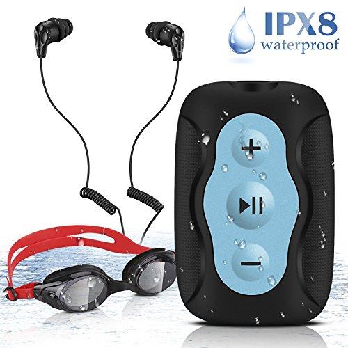 AGPTEK S33B- Reproductor de MP3 Acuatico 8 GB Impermeable IPX8 con Gaf