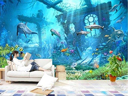 Wh-Porp Unterwasserwelt Ozean Delphin Hintergrund Wall 3D Tapete Kinderzimmer Dekoriert Tapete Für Wände 3D Tapete-300Cmx210Cm